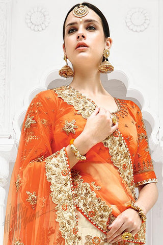 Indi Fashion Orange and Cream Dual Tone Bangalori Silk Lehenga Set