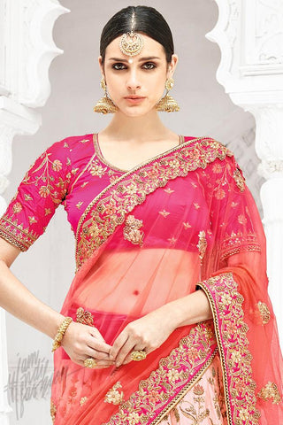 Indi Fashion Magenta and Peach Shaded Bangalori Silk Lehenga Set