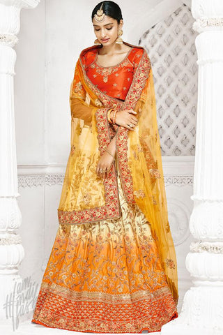 Indi Fashion Orange Cream and Yellow Shaded Bangalori Silk Lehenga Set