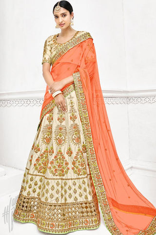 Indi Fashion Cream and Peach Bangalori Silk Lehenga Set
