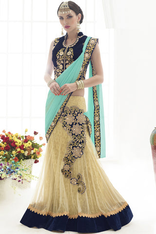 Indi Fashion Spectacular Turquoise And Cream Net Lehenga Saree