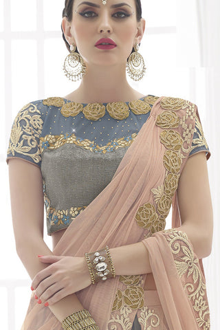 Indi Fashion Dull Peach And Grey Net Lehenga Saree