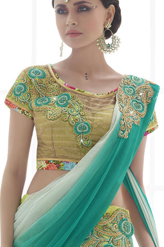 Indi Fashion Unique Light Fluorescent Green Net Lehenga Saree