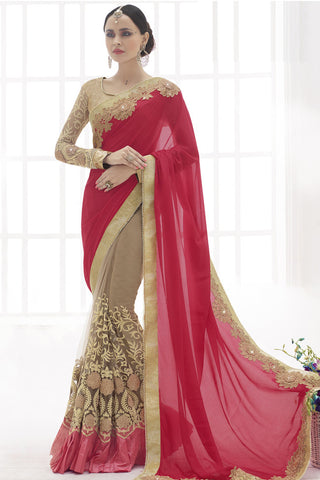 Indi Fashion Ideal Hot Red And Beige Faux Chiffon And Net Saree