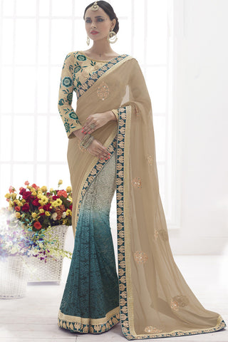 Indi Fashion Affectionate Peacock Blue and Beige Faux Chiffon and Net Saree