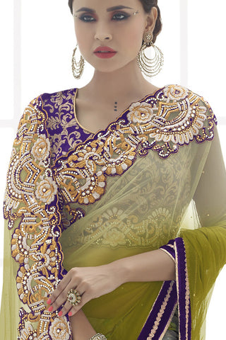 Indi Fashion Bewitching Yukon Gold And Grey Satin Georgette & Net Saree