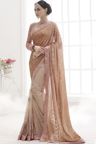 Indi Fashion Ravishing Georgette & Net Brown Saree