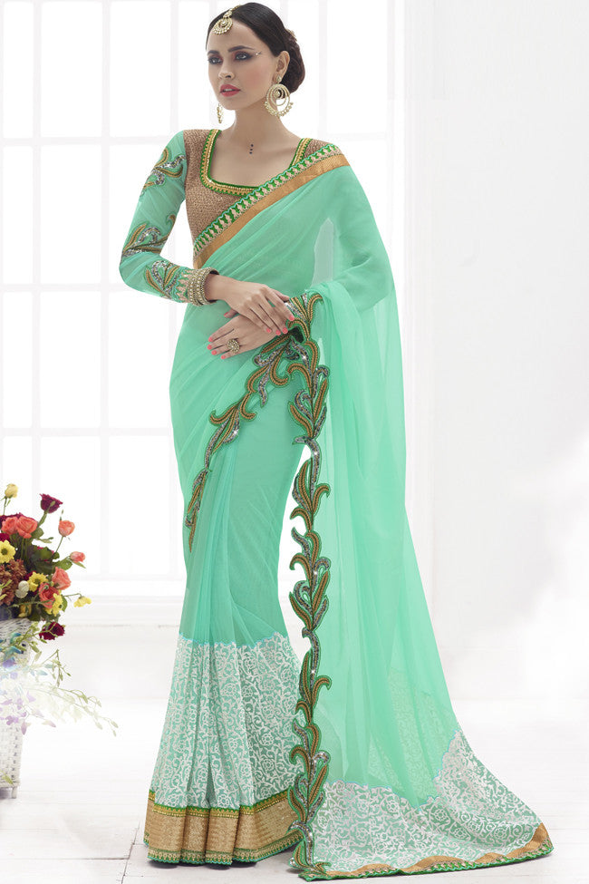 Buy Riveting Sea Green Net And Georgette Saree Online at indi.fashion