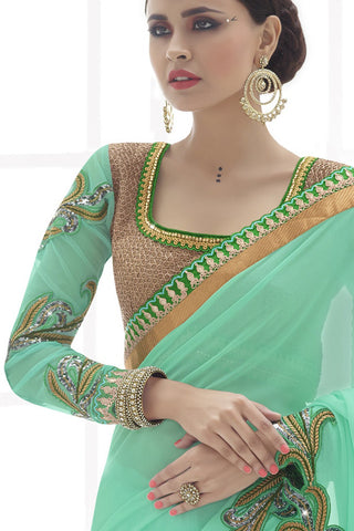 Indi Fashion Riveting Sea Green Net And Georgette Saree