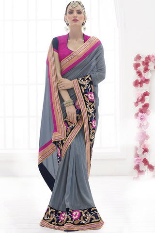 Indi Fashion Intricate Faux Chiffon & Georgette Grey Saree