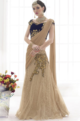 Indi Fashion Pristine Beige And Blue Net Georgette Chiffon Lehenga Saree