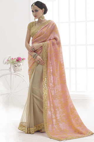 Indi Fashion Luscious Peach and Beige Patch Border Work Lycra And Net Saree