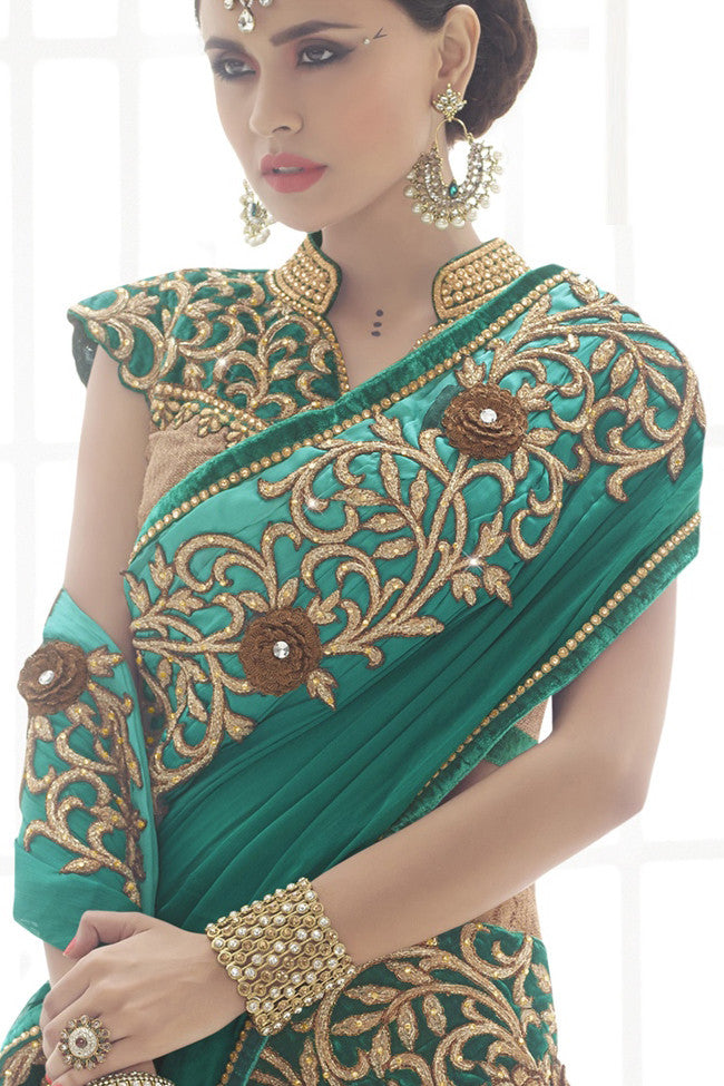 Buy Splendid Beige And Teal Green Chiffon And Net Lehenga Saree Online at indi.fashion