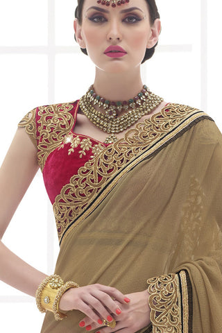 Indi Fashion Aspiring Dark Pink and Beige Georgette and Net Saree