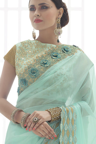Indi Fashion Sonorous Light Aqua Satin Net And Art Silk Saree