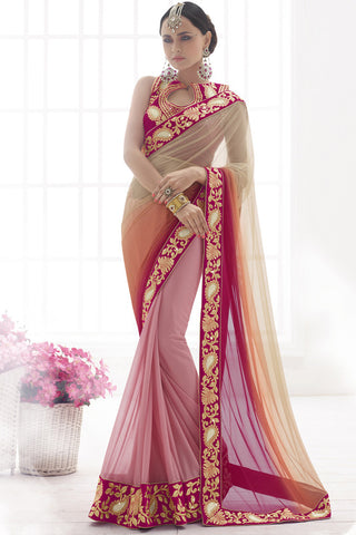 Indi Fashion Ravish Fuchsia Shimmer Net And Beige Shimmer Lycra Saree