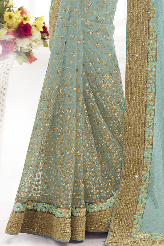 Indi Fashion Haute Aqua Net and Lycra Shimmer Saree