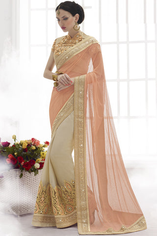 Indi Fashion Heavenly Peach and Beige Resham Work Net And Chiffon Saree