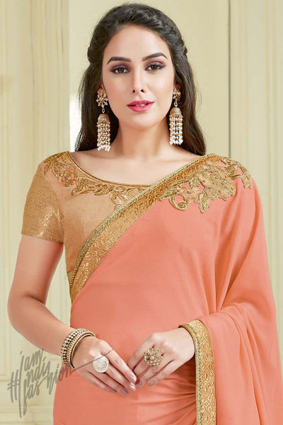 Indi Fashion Peach and Beige Net and Lycra Party Wear Saree