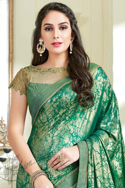 Indi Fashion Green Net and Lycra Party Wear Saree