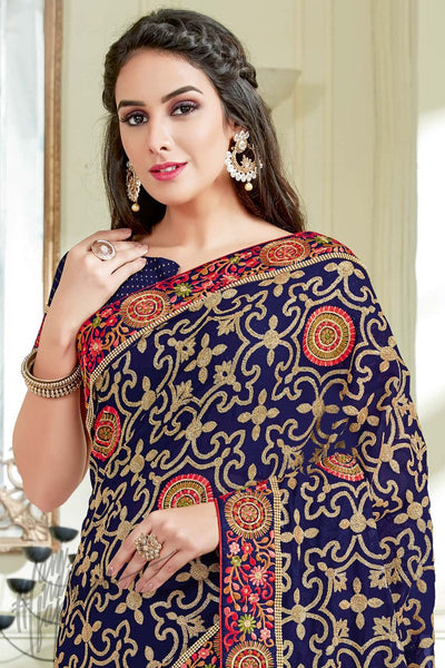 Indi Fashion Navy Blue Georgette Party Wear Saree