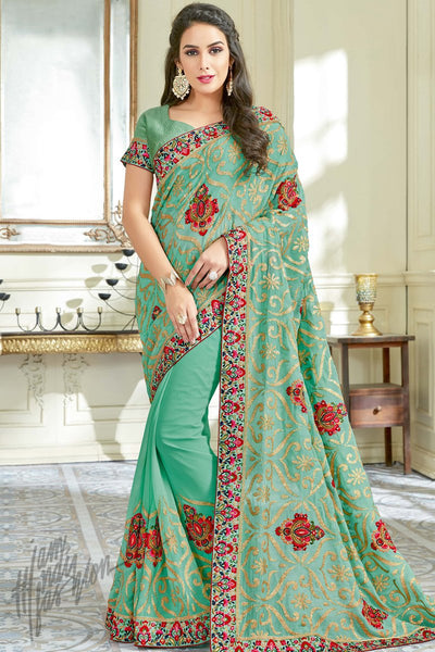 Indi Fashion Aqua Green Georgette Party Wear Saree