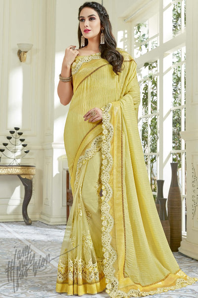 Indi Fashion Yellow Net and Lycra Party Wear Saree