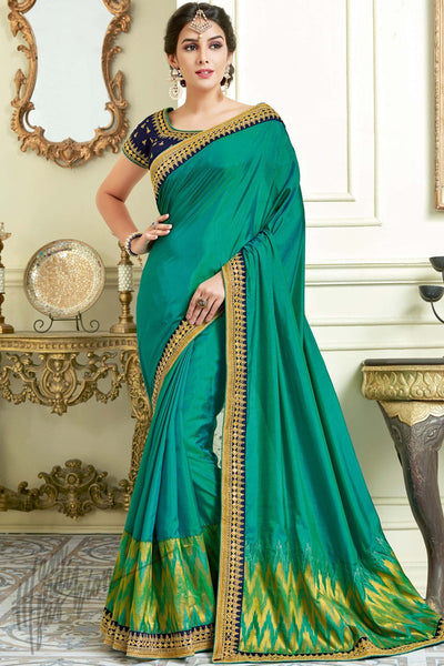 Indi Fashion Rama Green and Navy Blue Silk Party Wear Saree