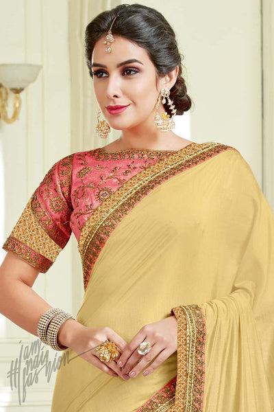 Indi Fashion Cream and Peach Silk Party Wear Saree