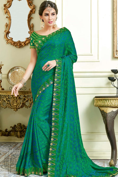 Indi Fashion Green Jacquard Silk Party Wear Saree