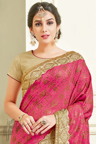 Indi Fashion Pink and Cream Silk and Net Party Wear Saree