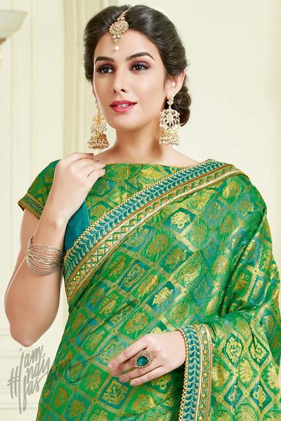 Indi Fashion Green and Sky Blue Jacquard Silk Party Wear Saree