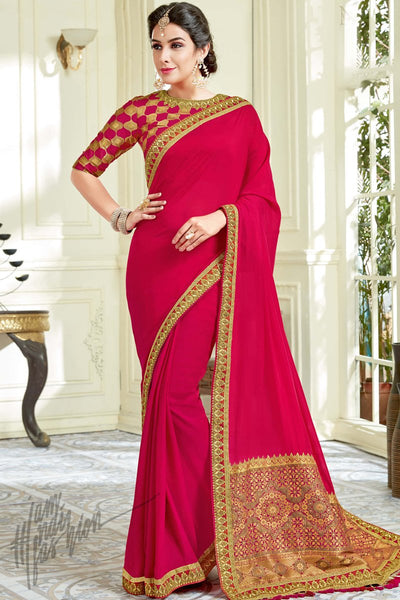 Indi Fashion Deep Pink Silk Party Wear Saree