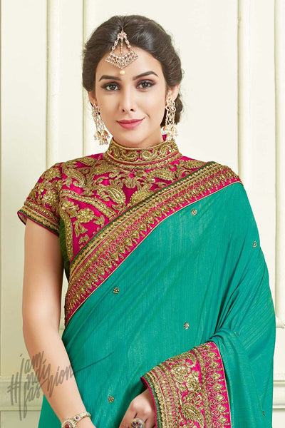 Indi Fashion Rama Green and Pink Silk Party Wear Saree
