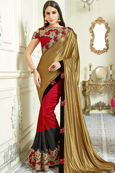 Indi Fashion Red and Gold Lycra Silk and Net Party Wear Saree