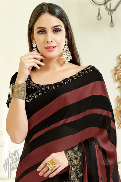 Indi Fashion Black and Brown Satin Silk Party Wear Saree