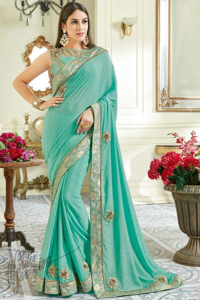 Indi Fashion Light Blue Georgette Party Wear Saree