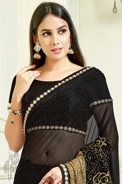 Indi Fashion Black and Gold Lycra and Net Party Wear Saree