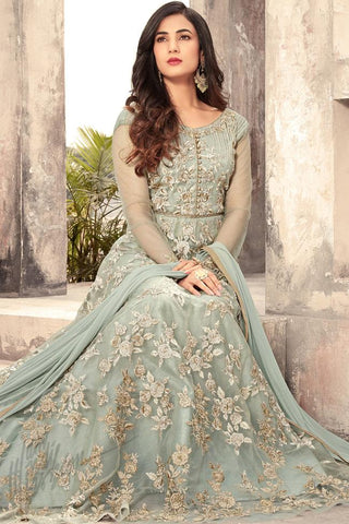 Indi Fashion Ice Blue Net Floor Length Party Wear Suit