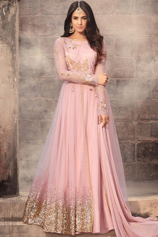 Indi Fashion Baby Pink Net Floor Length Party Wear Suit