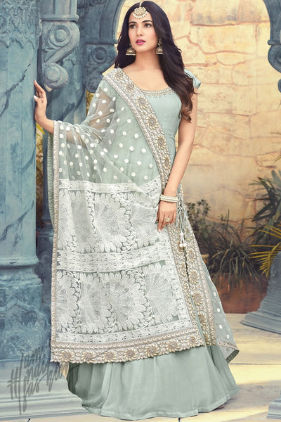 Indi Fashion Ice Blue and White Georgette Floor Length Party Wear Suit