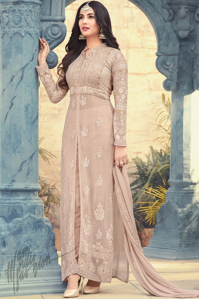 Indi Fashion Light Peach Georgette Ankle Length Party Wear Suit