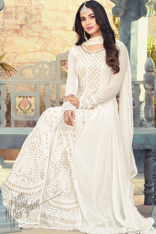 Indi Fashion Pearl White Georgette Floor Length Party Wear Suit
