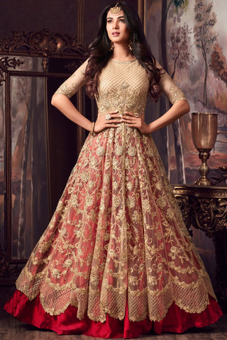 Indi Fashion Beige and Red Net Lehenga Style Party Wear Suit