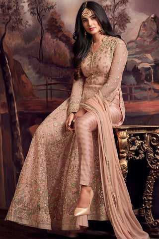 Indi Fashion Onion Pink Net Floor Length Party Wear Suit