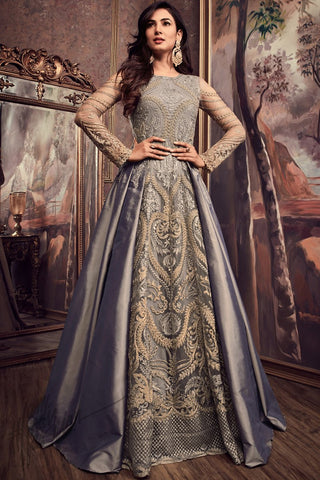 Indi Fashion Gray Silk Floor Length Party Wear Suit