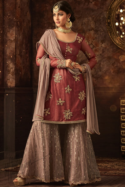 Indi Fashion Brick Red and Light Mauve Net Party Wear Sharara Suit