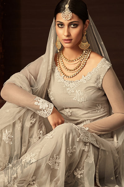 Indi Fashion Off White Net Party Wear Sharara Suit