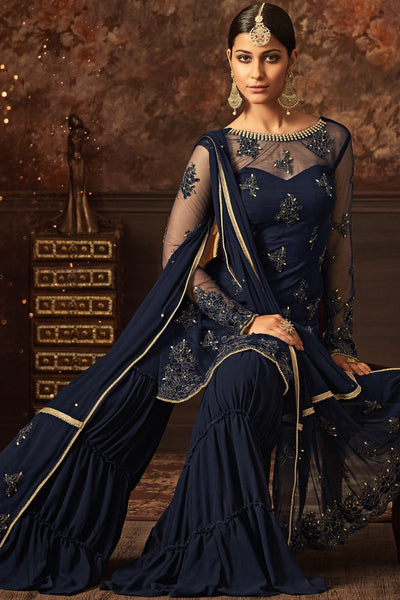 Indi Fashion Navy Blue Net Party Wear Sharara Suit