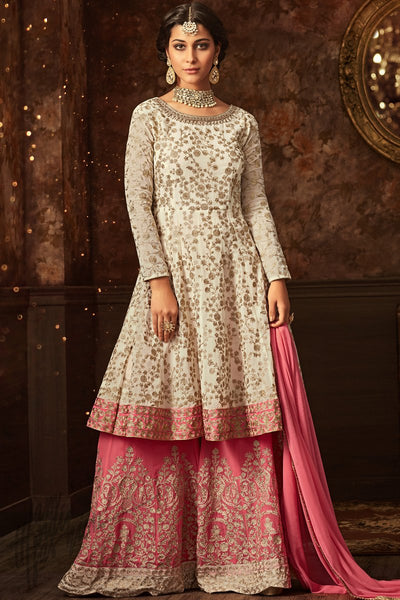 Indi Fashion Off White and Pink Georgette Lehenga Style Suit